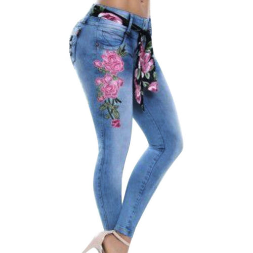 Stretch High Waist Skinny Embroidery  Floral Denim  Jeans