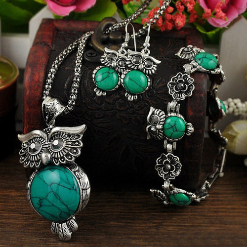 Owl Pendant Necklace drop earrings Charm bracelet Set