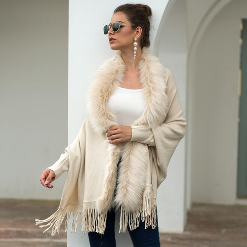 Fur Collar Cardigan Tassel Solid Coat