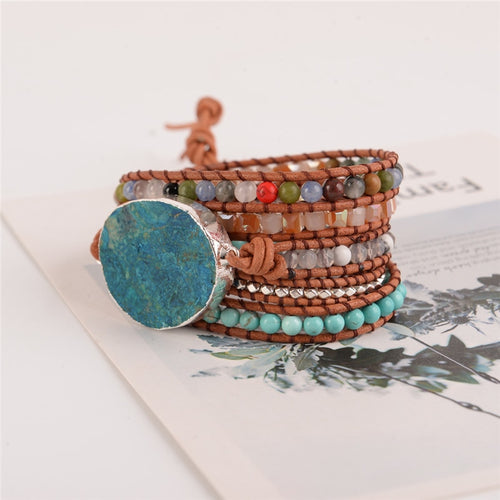 5X Leather Wrap Beaded Bracelet, Bohemian Bracelet