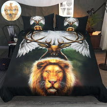 Load image into Gallery viewer, Leaders of the Earth by KhaliaArt Bedding Set 3D Printed Duvet Cover Set Queen Animal Bed Cover 3-Piece Eagle Lion Bedspreads