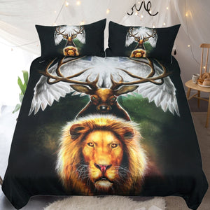 Leaders of the Earth by KhaliaArt Bedding Set 3D Printed Duvet Cover Set Queen Animal Bed Cover 3-Piece Eagle Lion Bedspreads
