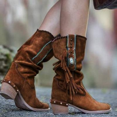 Bohemian Tassel Fringe Faux Suede Leather  Boots