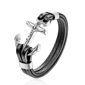 Stainless Steel Double Wolf Shackles Black Charm Leather Bracelet