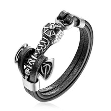 Load image into Gallery viewer, Stainless Steel Double Wolf Shackles Black Charm Leather Bracelet