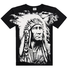 Load image into Gallery viewer, Men Black Loose White 3D Digital Print Character Native American Loose M to XXXL O-neck Short Sleeve T Shirt