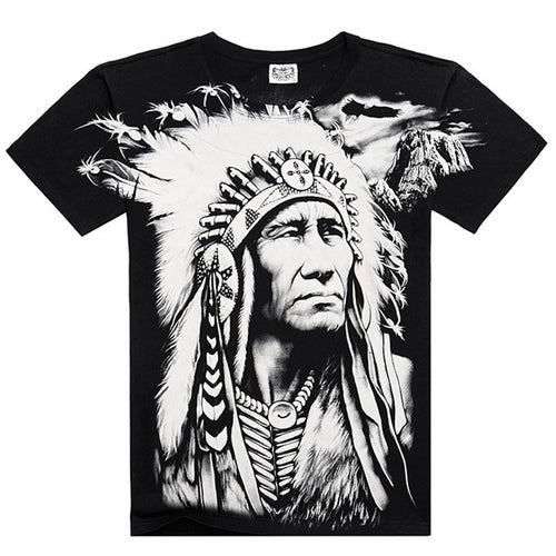 Men Black Loose White 3D Digital Print Character Native American Loose M to XXXL O-neck Short Sleeve T Shirt