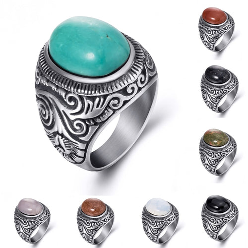 Natural Oval Turquoises Black Onyx Stainless Steel Ring