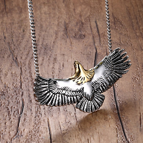 Stainless Steel Flying Eagle Hawk Necklace
