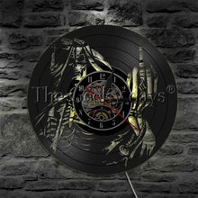 Load image into Gallery viewer, Middle Finger Skull Vinyl Record Wall Clock Demon Gothic Punk Home Decor Modern Design LED Lighting Wall Watch Halloween Gift