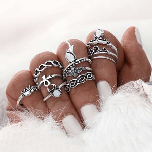 13pcs/set Boho Style Retro Silver Plated Elephant Hollow Flower Ring Sets for Women Knuckle Midi Rings Beach Jewelry