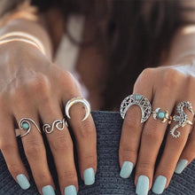Load image into Gallery viewer, 13pcs/set Boho Style Retro Silver Plated Elephant Hollow Flower Ring Sets for Women Knuckle Midi Rings Beach Jewelry