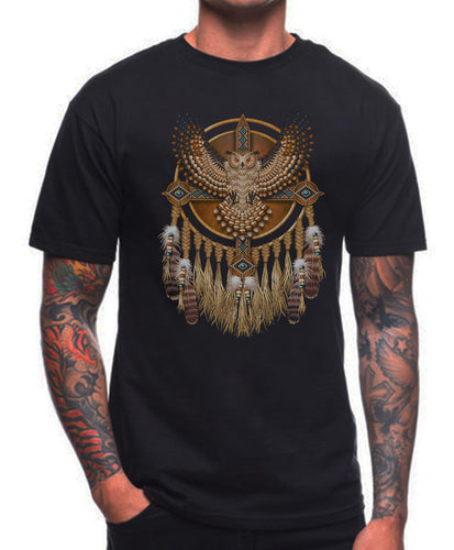NATIVE AMERICAN T SHIRT OWL MANDALA LAKOTA INDIAN MOVEMENT Top Tees