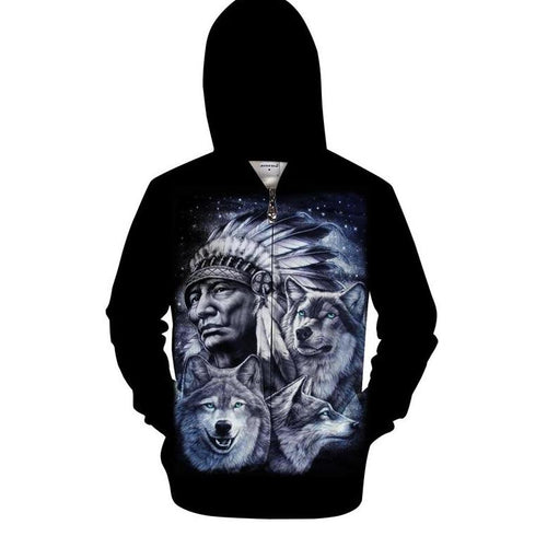 Native 3D Zip Hoodies