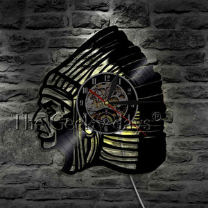 Native American Indian Chief Vinyl Record Wall Clock