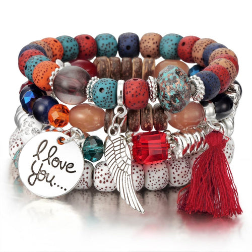 Natural Stone Beads Bracelets For Women Wing Tassel Charm Bracelets