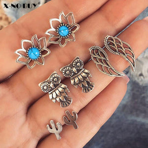 New 4 Pairs/Set Owl Wings Lotus Cactus Stud Earring Set for Women Jewelry Antique Silver Metal Blue Turquoises Stud Earrings Set