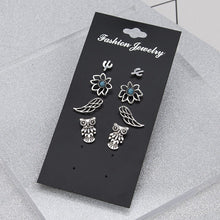 Load image into Gallery viewer, New 4 Pairs/Set Owl Wings Lotus Cactus Stud Earring Set for Women Jewelry Antique Silver Metal Blue Turquoises Stud Earrings Set