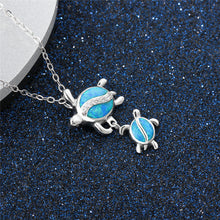 Load image into Gallery viewer, New Fashion Cute Silver Crystal Blue Opal Mom Turtle With Baby  Pendant Necklace Forever Love Animal Jewelry Mother's Day  Gift