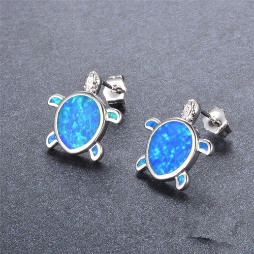 Lovely Silver Filled Blue Opal Tiny Turtle Stud Earrings