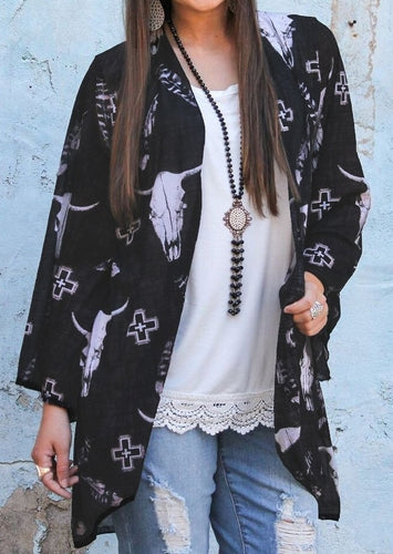 Bull Head Print Feather cross Three Quarter Sleeve Cardigan