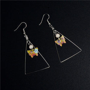 New Women Fashion Printing Flower Colorful Round Wooden Earrings American Indian Brincos Jewelry