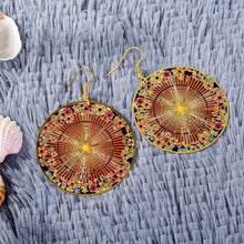 Load image into Gallery viewer, New Women Fashion Printing Flower Colorful Round Wooden Earrings American Indian Brincos Jewelry