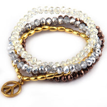 Load image into Gallery viewer, Glass crystal silver yellow brown beads and gold pipe beads with peace charm 4 string bracelet one set