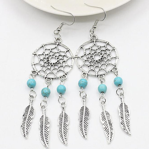 New bohemian style dream catcher net feather earrings