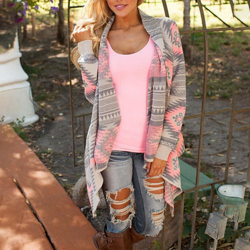 Knitted Casual Loose Long Sleeve Sweater Long Cardigan