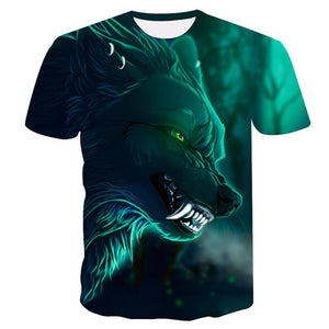 Novelty 3D men wolf t-shirt Cool wolf Printed t shirts summer 3D Short Sleeve Glow in the Dark T-shirts good quality