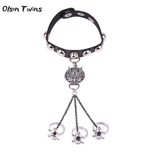 Olsen Twins Punk Wolf Head Earrings Skull Skeleton Finger Rings Hand Chain Leather Button Bracelet
