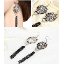 Load image into Gallery viewer, Olsen Twins Punk Wolf Head Earrings Skull Skeleton Finger Rings Hand Chain Leather Button Bracelet