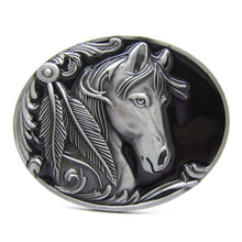 Load image into Gallery viewer, Oval Horse Head Feathers Native American Indian Rodeo Belt Buckle