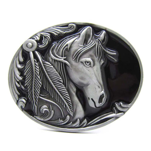 Oval Horse Head Feathers Native American Indian Rodeo Belt Buckle