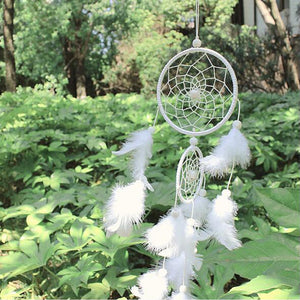 White Dreamcatcher Gift Handmade Dream Catcher Net With Feathers Wall Hanging Decoration Ornament For Wedding Festival