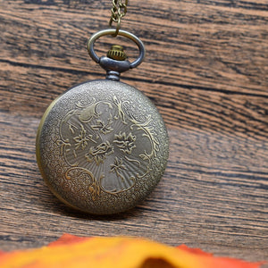 Pocket Watch Bronze Native American Style  Pocket Watch Necklace Pendant for Women Man Gift Watch