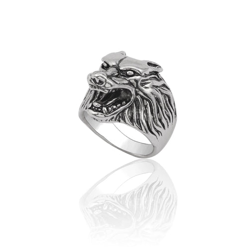 Silver Wolf Head Stainless Titanium Steel Ring