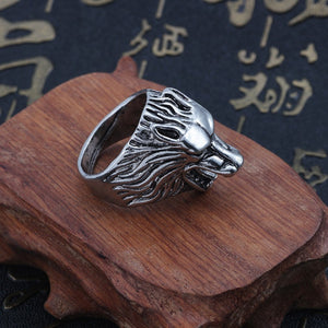 Punk Animal Ring Men Gothic Vintage Silver Wolf Head Stainless Titanium Steel Rings Cool Man Biker Finger Ring Jewelry Anillos