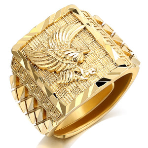 Punk Rock Eagle Men 's Ring Luxury Gold Color Resizeable To 7-11 Finger Jewelry Never Fade