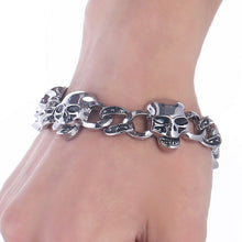 Load image into Gallery viewer, Punk Stainless Steel Wolf Head Bracelet Men Dragon/Leopard/Skull Charms Cuff Bracelets Bangles