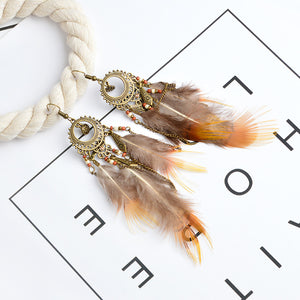 Bronze tassel wood beaded charm  feather earrings