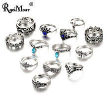Load image into Gallery viewer, 7 Style Vintage Knuckle Rings for Women Flower Crystal Ring Set Finger Jewelry