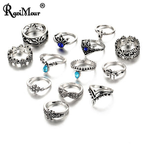 7 Style Vintage Knuckle Rings for Women Flower Crystal Ring Set Finger Jewelry
