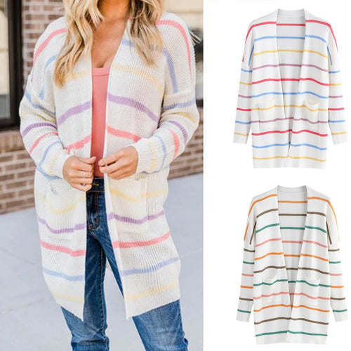 Long Sleeve Rainbow Striped Causal Sweater  Coat