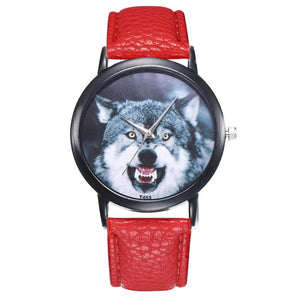Casual  Leather Band Wolf Pattern Analog Quartz Sport Watch