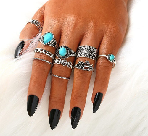10pcs Boho Natural Blue Stone Knuckle Ring Set