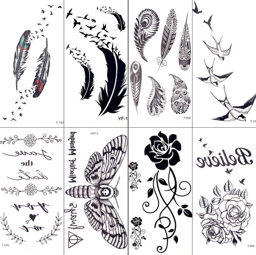 Sexy Black Tribal Feather Birds Temporary Tattoo Women Body Arm Art Tattoo Stickers Indians Swallow Men Waterproof Tatoo Makeup
