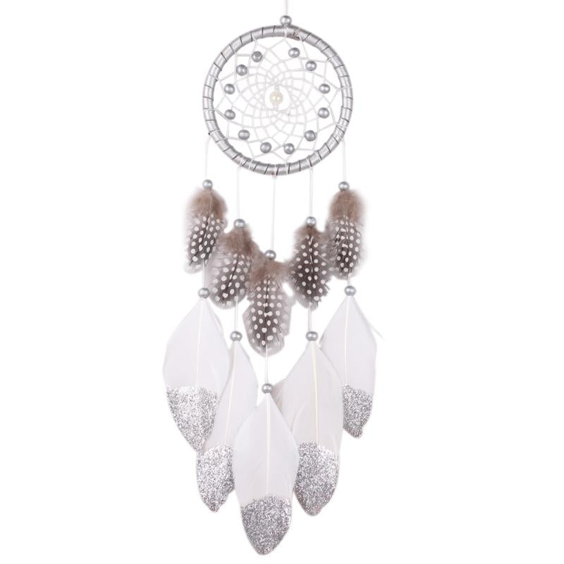 Silver Bead Dream Catcher with Feather