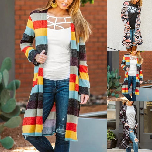 Stripe Patchwork Knit Sweater Cardigan